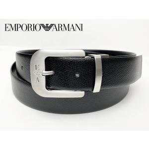 エンポリオ アルマーニ Y4S313 8PHOC 88001 型押しブラックレザーXブラックレザー メンズ向け リバーシブル ベルト|perlei