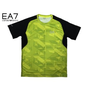 エンポリオアルマーニ 3ZPT16 PJH6Z EA7トレインロゴ入りメンズ向けブラックX蛍光イエロー系幾何学模様VENTUS7 Tシャツ L|perlei