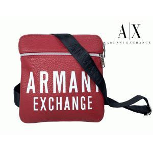 アルマーニ エクスチェンジ 952108 9A024 ロゴ入り レッド系エコレザー マチ無し スモール メッセンジャーバッグ|perlei