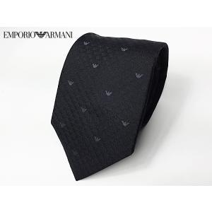エンポリオ アルマーニ ネクタイ EMPORIO ARMANI 340075 8OU01 00020 BLACK ブラック地 グレー系 イーグル柄 ネクタイ|perlei