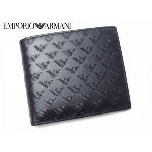 エンポリオアルマーニ YEM122 YC043 80001 NERO 型押しGAイーグルマーク柄ブラックレザーメンズウォレット二つ折り財布|perlei