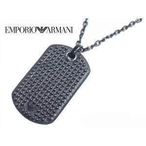 エンポリオ アルマーニ EGS1966040 イーグルマーク入り ブラックレザー張り スタッズ ドッグタグ ペンダント ネックレス|perlei