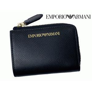 エンポリオ アルマーニ Y3H088 7AHOC 81386 BLACK ロゴ入り ブラック エコレザー L字 ラウンドファスナー コンパクト財布|perlei