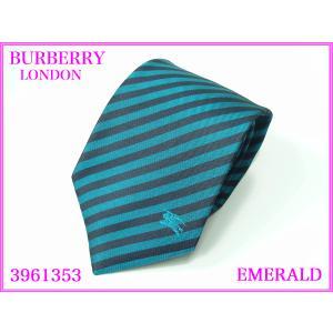 BURBERRY LONDON バーバリー ロンドン 3961353 EMERALD トレードマーク騎士刺繍入り エメラルド グリーン系 ストライプ柄 ネクタイ|perlei
