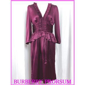 BURBERRY PRORSUM バーバリー プローサム ワンピース 4397791 1004 ボルドーカラー Vネック シルク イブニングドレス ワンピース|perlei