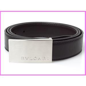 BVLGARI ブルガリ ベルト 21356 ロゴ入りバックル ブラックレザーXダークブラウンレザー リバーシブル ベルト perlei
