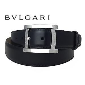 ブルガリ ベルト BVLGARI 284480 BLACK PALLADIUM ASSIOMA BELT ブルガリ ロゴ入り アショーマ バックル ブラック スムースレザー ベルト BULGARI perlei