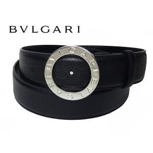 ブルガリ ベルト BVLGARI 38195 BLACK PALLADIUM ブルガリブルガリ ロゴ入り 円形バックル ブラック グレインレザー メンズ ワイド ベルト BULGARI perlei