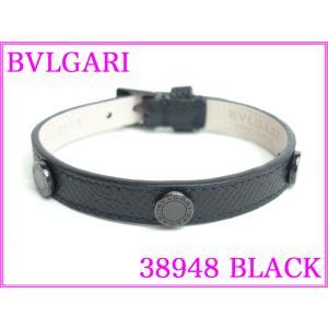 BVLGARI ブルガリ 38948 BLACK ブルガリブルガリ ロゴプレート付き ブラックレザー メンズ向け ブレスレット BULGARI perlei