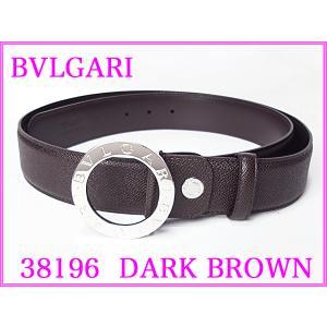BVLGARI ブルガリ 38196 DARK BROWN ブルガリブルガリ ロゴ入り 円形バックル ダークブラウンレザー メンズ ワイド ベルト BULGARI perlei