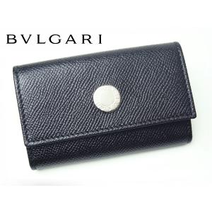 BVLGARI ブルガリ キーケース 20234 BLACK ブルガリブルガリ ロゴプレート付き ブラック グレインレザー 6連 キーケース BULGARI perlei