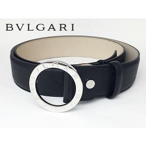 ブルガリ 284763 BLACK PALLADIUM ブルガリブルガリ ロゴ入り 円形バックル ブラック グレインレザー メンズ ワイド ベルト perlei