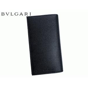 ブルガリ BVLGARI 25752 BLACK 型押しロゴ入り ブラック グレインレザー メンズ ロング ウォレット 札入れ 長財布 BULGARI perlei