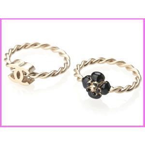 CHANEL シャネル A40531 ブラック カメリア X ココマーク ライトゴールドカラー リング 指輪 2個セット|perlei