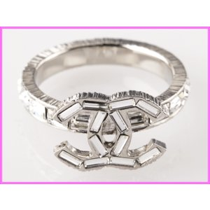 CHANEL シャネル A63118 シルバーカラー 長方形 ラインストーン ココマーク リング 指輪|perlei