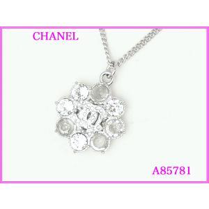 CHANEL シャネル A85781 ココマーク入り クリアラインストーン フラワーモチーフ ペンダント ネックレス|perlei
