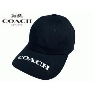 COACH コーチ キャップ 89719 BLACK ニューヨーク ロゴ入り ブラック シグネチャー ベースボールキャップ 野球帽子|perlei