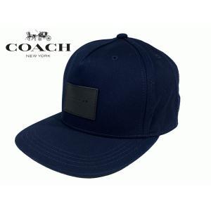 COACH コーチ キャップ F33774 NAVY ロゴプレート付き ネイビー フラット ブリム ハット ベースボールキャップ 野球帽子|perlei