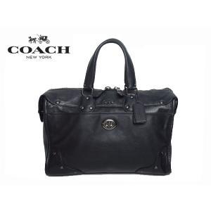 COACH コーチ 33689 QB/BK ロゴマークプレート付き ブラック レザー ハンドバッグ 兼 斜め掛けショルダーバッグ|perlei