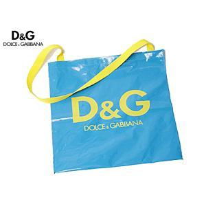 D&G ドルチェ&ガッバーナ バッグ ディー&ジー DOLCE&GABBANA ビニール製ロゴ入りブルーマチ無しショルダーバッグ 大 ドルガバ perlei