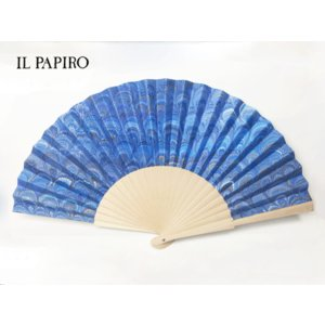 IL PAPIRO FIRENZE イル パピロ フィレンツェ センス ブルー系 マーブル紙 ハンドメイド製 扇子|perlei