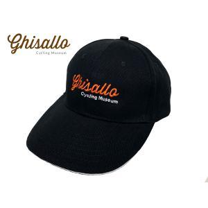 ギサッロ サイクリングミュージアム ロゴ刺繍入り ブラック コットン ベースボール キャップ 野球帽子|perlei
