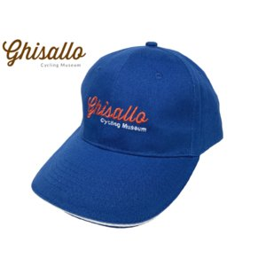 ギサッロ サイクリングミュージアム ロゴ刺繍入り ブルー系 コットン ベースボール キャップ 野球帽子|perlei