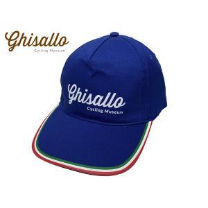 ギサッロ サイクリングミュージアム ペイントロゴ入り ブルー系 薄手コットン ベースボール キャップ 野球帽子|perlei