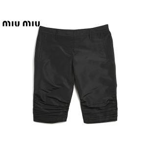 ミュウミュウ ショートパンツ MIUMIU MP631 NERO 裾プリーツ加工 ブラック系 ナイロン レディース ハーフパンツ|perlei