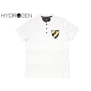 ハイドロゲン HYDROGEN 190054 WHITE クレスト紋章ワッペン付き メンズ向け ホワイト 半袖 ポロシャツ M|perlei