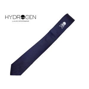 ハイドロゲン 133402 BLUE NAVY ネイビー系地シルバー系クロスボーンスカル刺繍入りピンドット柄ナローネクタイ|perlei