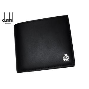 ダンヒル ロンドン DUL2AS32A BLACK アルフレッドダンヒル ADロゴプレート付き ブラックレザー 二つ折り財布|perlei