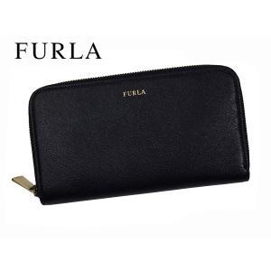 フルラ FURLA 846079 ONYX ゴールドカラー ロゴ入り オニキス ブラックレザー ラウンドジッパー 長財布 perlei