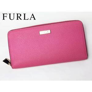 フルラ FURLA 952481 P PU34 VTO RITZY ORTENSIA  ロゴプレート付き ピンク系レザー ラウンドジッパー 長財布 perlei