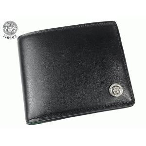 VERSACE COLLECTION ヴェルサーチ コレクション V93S003 VM00017 V000 型押し ハーフメデューサ 絵柄入り ブラックレザー メンズ ウォレット 二つ折り財布 perlei