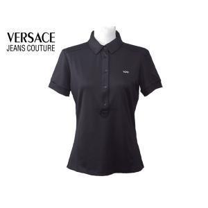 VJC VERSACE JEANS COUTURE ヴェルサーチ ジーンズ クチュール B2H8D716 VJC 刺繍ロゴ入り ブラック レディース ポロシャツ ベルサーチ|perlei