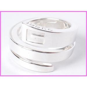 GUCCI グッチ 077522 GUCCIロゴ + Gマーク入り スネークモチーフ スパイラル シルバーリング 指輪
