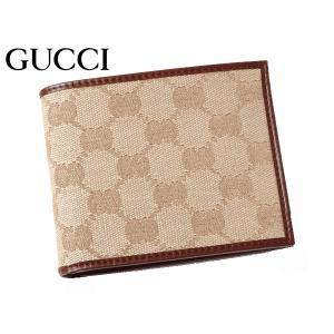 GUCCI グッチ 260987 インターロッキングG柄 サンドGGキャンバス地Xブラウンレザー 二つ折り財布 両面カードホルダータイプ|perlei