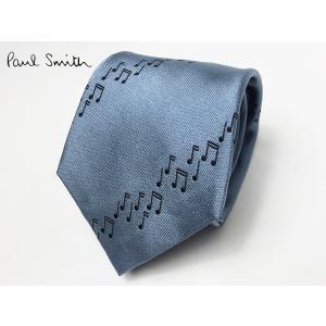 Paul Smith ポールスミス ネクタイ ARXC 552M A44 ブルーグレー系色地 ブラック 音符 ストライプ柄 ネクタイ|perlei