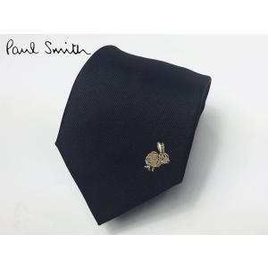 Paul Smith ポールスミス ネクタイ ASXC 552M B18 ブラック地 ワンポイント ラビット柄 刺繍 ネクタイ|perlei