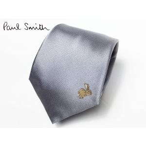 Paul Smith ポールスミス ネクタイ ASXC 552M B18 シルバー系地 ワンポイント ラビット柄 刺繍 ネクタイ|perlei
