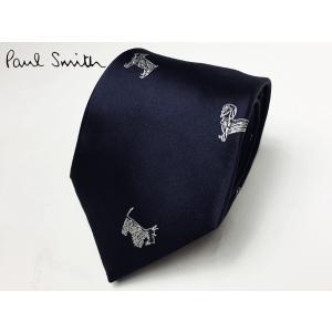 Paul Smith ポールスミス ネクタイ CSRA 552M X68 ダークネイビー系地 オフホワイト系 バラエティー ドッグ 刺繍 ネクタイ|perlei