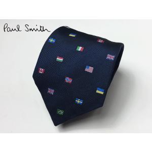 ポールスミス ネクタイ Paul Smith APXA 552M Z61 ネイビー系地 国旗柄 ネクタイ|perlei