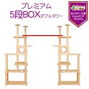 キャットタワー 木製 突っ張り キャットウォーク 全高約210-260cm 5段BOXダブルタワー 多頭飼い 複数飼い 大型 室内 運動不足 日本製 pet-kagu-kagu