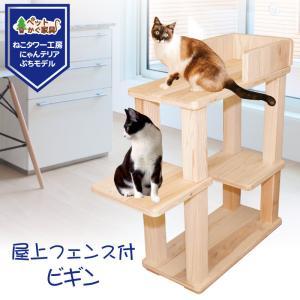 キャットタワー 木製 杉にゃん 据え置き  ビギン 全高約94cm おすすめ シニア 子猫 爪とぎ 1年保証 運動不足 おしゃれ 設置 簡単 pet-kagu-kagu