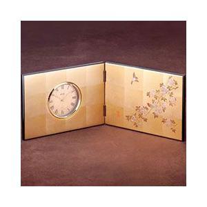 箔一 置き時計 花見鳥 屏風 時計 A132-06011|pet-square-cat
