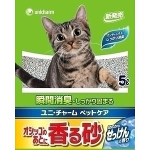 猫用品 オシッコのあとに香る砂(猫砂) ほのかなせっけんの香り 5L|pet-square-cat