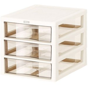 B4 書類整理引き出し アプロス 深型 3段 155038 アイボリー(フロアケース/書類ケース/整理棚/収納/レターケース/小物入れ)|pet-square-cat