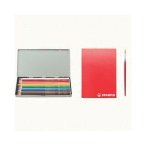 スタビロ 水性 色鉛筆セット 12色いろえんぴつ&スケッチブック&筆 STB0125|pet-square-cat