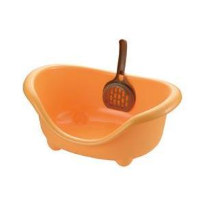 リッチェル こネコのトイレ オレンジ 猫 トイレ容器|pet-square-cat